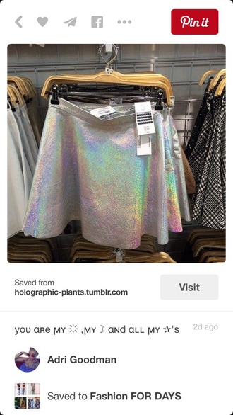 skirt holographic skater skirt skater style fashion metallic high waisted high waisted skirt pale grunge