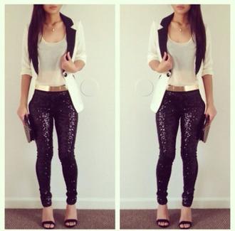 pants sparkly black leggings metal gold belt jacket black sparkle pants