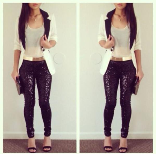 pants sparkle black leggings metal gold belt jacket belt black sparkle pants