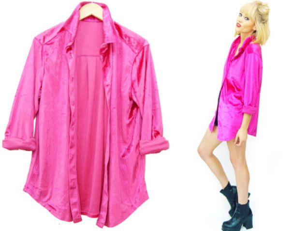 Blouse: velvet, pink, neon, top, boyfriend shirt, oversized, 90s ...
