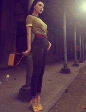 shoes,stripes,retro,skinny,belt,bag,t-shirt,pants