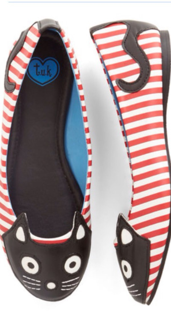 shoes flats stripes cats ballet flats