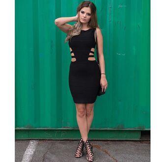 dress mischievous socialite cut-out mini dress black dress bandage dress bodycon dress side cutouts