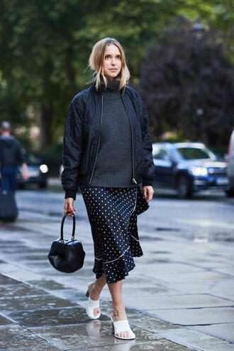 sweater tumblr grey sweater knit knitwear fall outfits jacket black jacket skirt midi skirt polka dots shoes mules bag black bag handbag