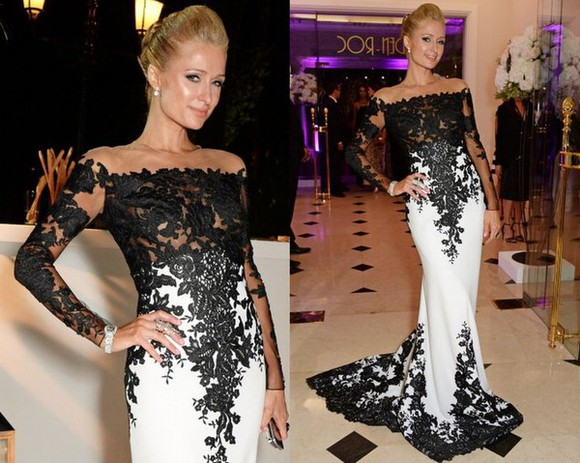 evening dress lace dress prom dress evening gown black and white dress celebrity dresses celebrity style red carpet dress celebrity gown lace prom dress