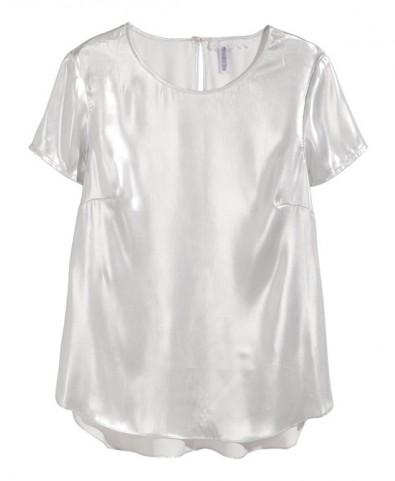 Laser Silver Slim Fit Short Sleeves Chiffon Blouse