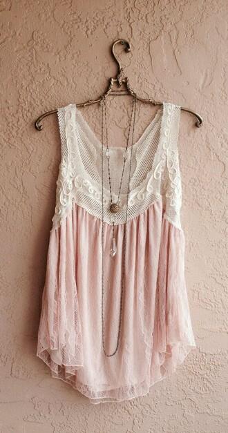 tank top boho romantic pastel pink blouse pink