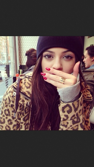 coat leopard coat leopard print leopard print jacket jacket winter outfits leopard print black beanie red nails