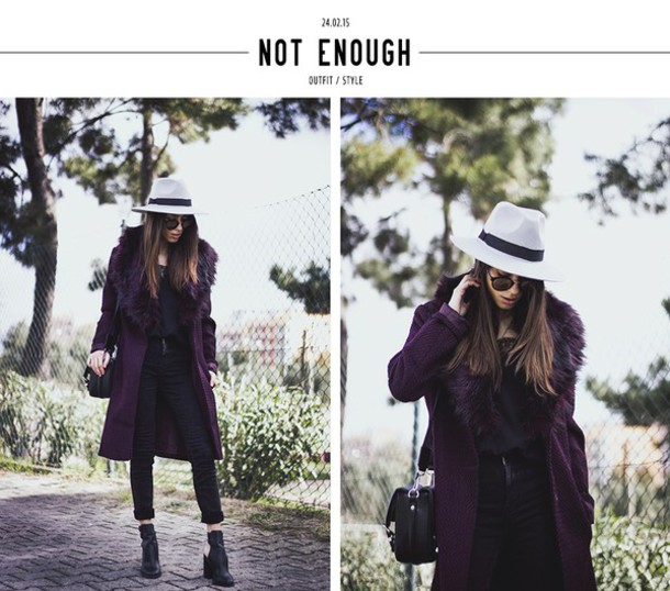 mexiquer blogger plum winter coat fedora black jeans hat sunglasses coat jeans shoes
