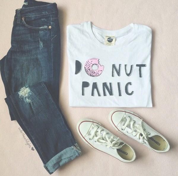 t-shirt t-shirt donut donut panic donut white pink black blouse shirt top white top white shirt do nut care donut care do nut panic donut top donut shirt jeans white t-shirt