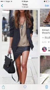skirt,lopsided,leather,black,diagonal,short,mini,blouse,dress,coat,jewels