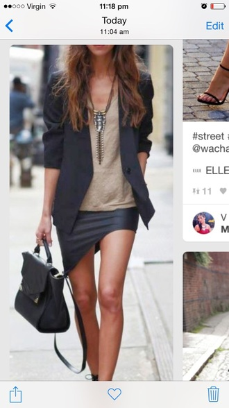 skirt lopsided leather black diagonal short mini