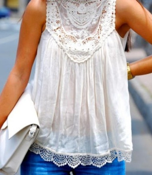 489f97adc6f36 blouse clothes lace shirt white pretty white flowy top white top white lace  white blouse top