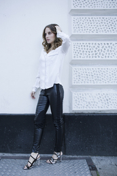 at fashion forte,blogger,shirt,jewels,pants,shoes,white shirt,leather pants,sandals,high heel sandals