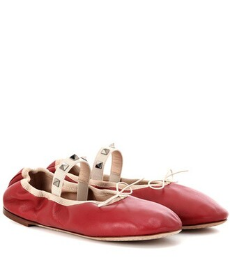 ballet leather red shoes