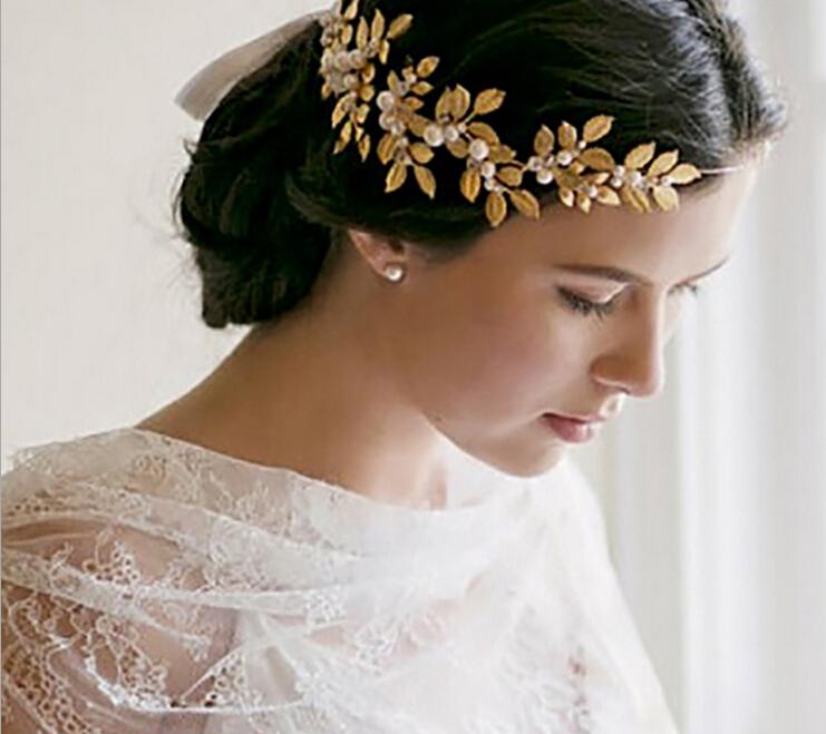 party romantic gold metal leaf cream pear headband bride high