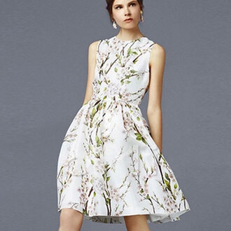 dress brown dress floral girly white dress prom dress green cute