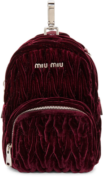 backpack velvet burgundy bag