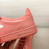 shoes,louis vuitton,pink,peach,low top sneakers,pink sneakers,patent shoes