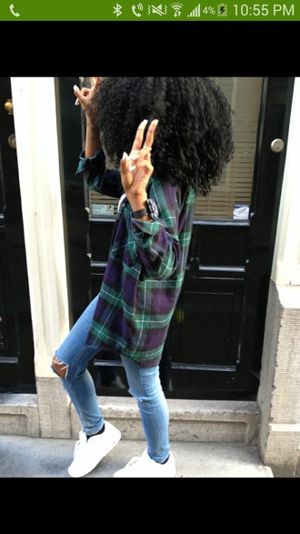 shirt plaid shirt flannel oversized green purple curly