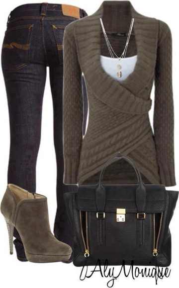 sweater clothes cable knit knit sweater shoes aly monique bag blouse wrap green/gray knit brown jeans jewels