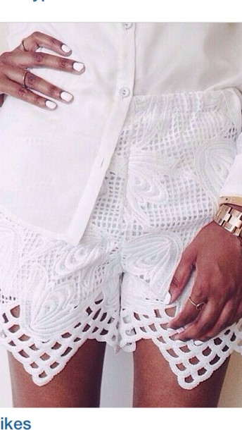 shorts shorts #lace #white