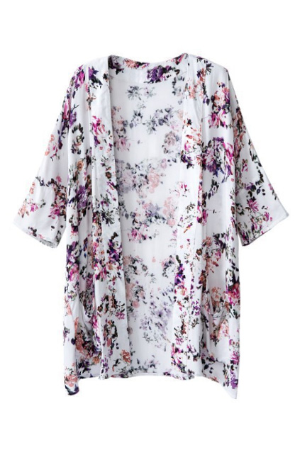 Romwe floral print buttonless cropped sleeves coat