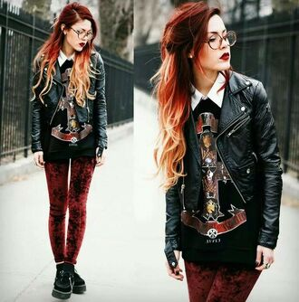 jacket grunge velvet velvet leggings leather leather jacket glasses hipster soft grunge shirt shoes le happy college red pants jeans leggings burgundy hipster punk t-shirt black guns and roses band top coat hypster sweater clothes jumper luanna perez grunge leggings red cool tumblr tumblr girl tumblr outfit tumblr clothes alternative fashion pants
