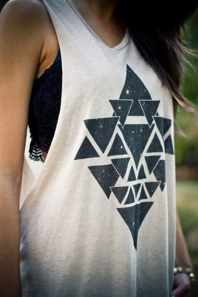 tank top black white triangles geometric shirt women tshirts
