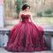 Dark red ball gown prom dresses sweetheart lace tulle petal embellished floor length evening gowns 2017 sweet 16 dresses prom dresses for plus size prom dresses montreal from yate_wedding, $125.84  dhgate.com
