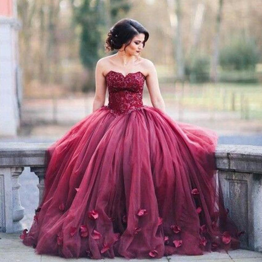 Dark Red Ball Gown Prom Dresses Sweetheart Lace Tulle Petal ...