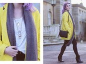 like a riot,blogger,jewels,yellow coat,coat,scarf,bag,shirt,belt,jeans,shoes
