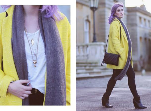 like a riot blogger jewels yellow coat coat scarf bag shirt belt jeans shoes