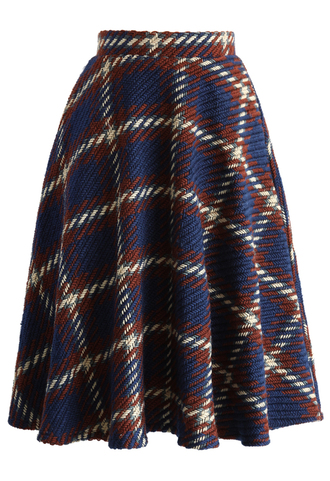 skirt chunky plaids knitted skirt in navy navy chicwish knitted skirt plaid