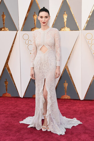 dress prom dress wedding dress slit dress long prom dress lace dress rooney mara oscars 2016 red carpet dress red carpet givenchy