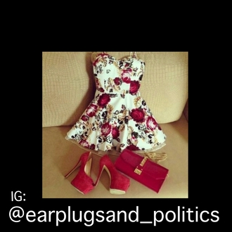 dress floral rose white ane gold white gold red and white velvet heels clutch matching set cute girly shoes