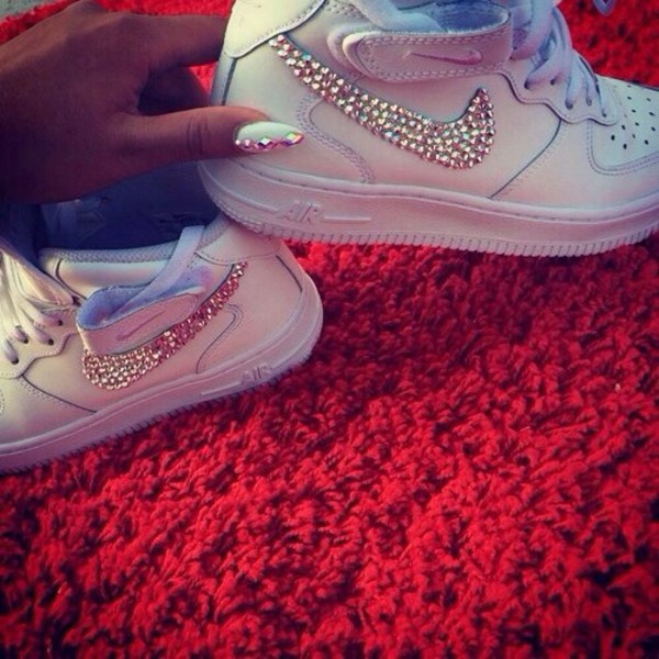 shoes jewels nike sneakers nike air force 1