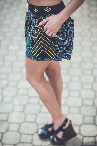 shorts summer short gold black black and white embroidery aztec tribal pattern print printed pants printed shorts boho indie hippie festival gold details high waisted