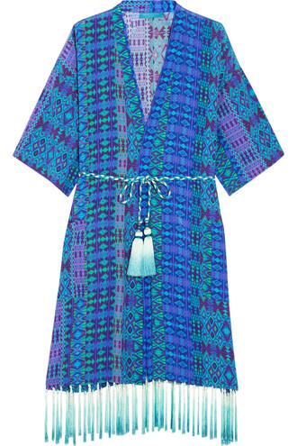 kimono silk blue cobalt blue top