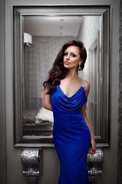 Dress Tidetell Prom Dress Evening Dress Royal Blue Chiffon Cowl