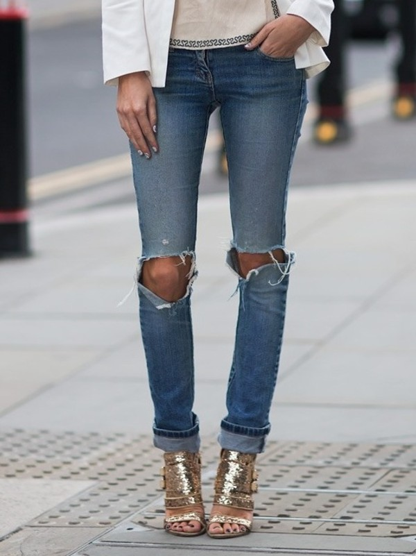 jeans gold shoes
