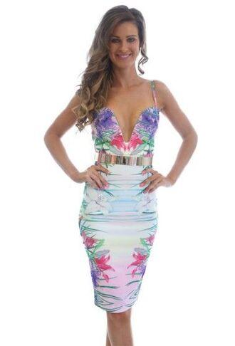 dress tropical multi colored v plunge bodycon dress midi dress