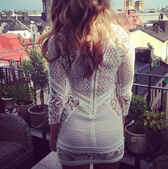 dress gorgeous white lace detail flowers citylife hair curly hair botanist zip model london paris white line detail celebrity style crochet summer blonde hair hot aw13 skirt bag cutoff denim shorts lace dress bodycon dress bodycon white dress white lace dress