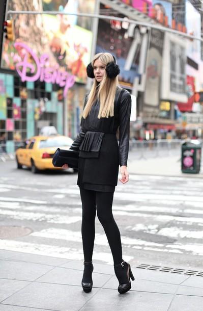 Dress Earmuffs Mini Dress Black Dress Little Black Dress Tights