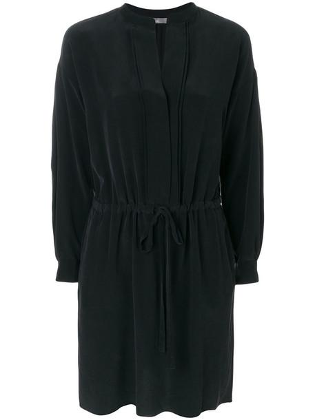 Vince dress shirt dress women black silk satin