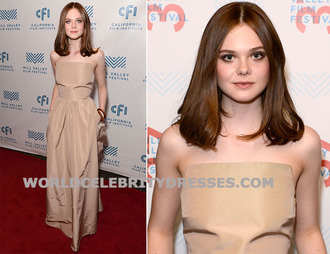 elle fanning strapless satin long custom made celebrity dresses for less at the 37th annual mill..