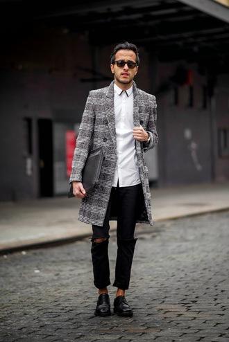 the metro man blogger tartan grey coat mens coat ripped mens shirt white shirt
