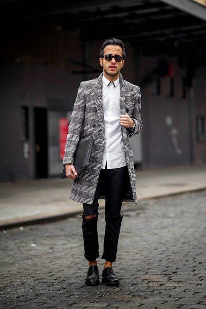 the metro man blogger tartan grey coat mens coat ripped mens shirt white shirt