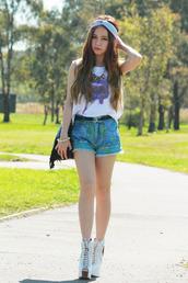 chloe ting,t-shirt,shorts,jewels,bag,shoes