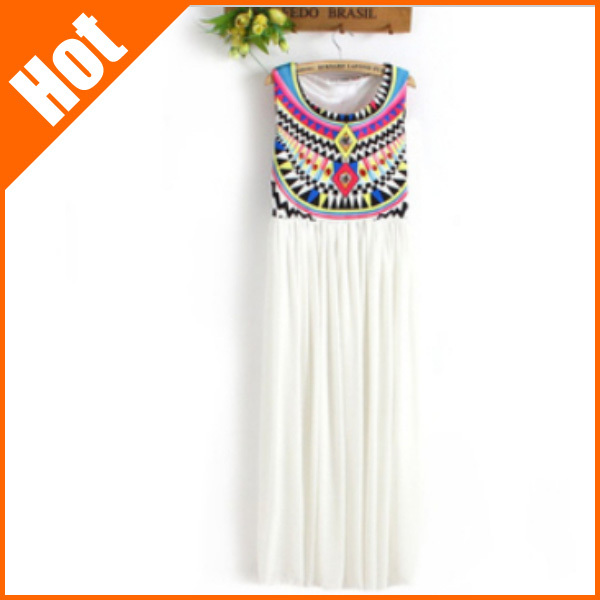 2013 summer Dresses print national trend pattern bohemia pleated sleeveless chiffon maxi long patchwork dress for women-inDresses from Apparel & Accessories on Aliexpress.com